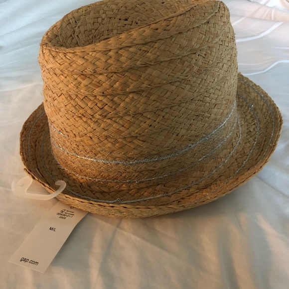 NWT GAP straw fedora hat with silver detail 976b5673799